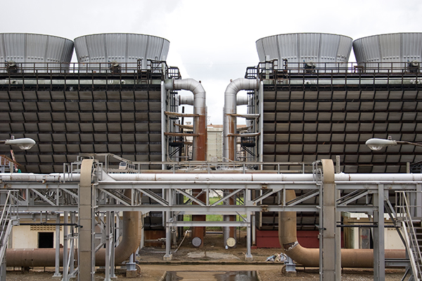 two sets of cooling towers in symmetry